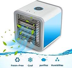 LYW Mini Tragbare Mobile Luftkühler Eiskalter Fan Mini Air Cooler USB 3 in 1 Raumluftkühler Einstellbare 7 Farbe LED-Licht Luftbefeuchter und Luftreiniger Tragbarer Tischventilator für Büro Hotel