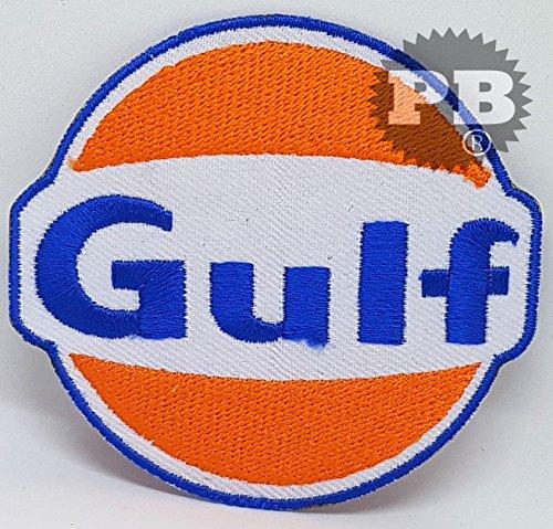 # 14Gulf Oil gasolina vintage biker F1Racing hierro Sew en bordado parche