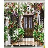 Duschvorhang Anti-Schimmel Anti-Bakteriell, Waschbar, Shower Curtain Water-Repellent mit 12 Duschvorhangringen 180 x 180cm-Blumengarten