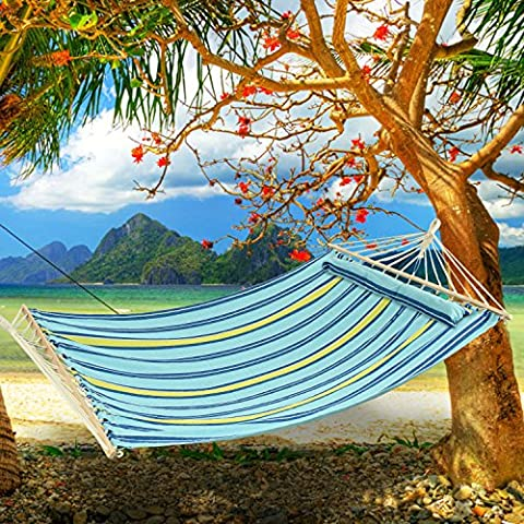 Ancheer Cotton Double Hammock for 2 Person with Soft Pillow and Spreader Bar for Garden Beach Camping