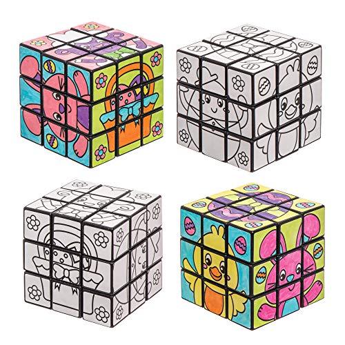 """Baker Ross Puzzlewürfel-Bastelsets \""""Ostern\"""" zum Ausmalen (2 Stück) - Bastelidee zu Ostern für Kinder zum Verzieren und Spielen"""