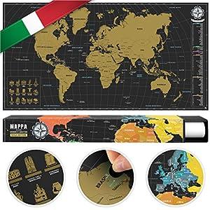 #benehacks Mapa del Mundo en Italiano Tipo póster para rascar SIGA Sus Aventuras de Viaje en un Mapa detallado del Mundo – Mapamundi Oro/Negro – 84 x 44 cm