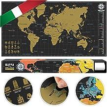 #benehacks® mapa del mundo para rascar en ITALIANO - carta para raspar - oro / negro 84 x 44 cm incl. embalaje de regalo