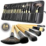 #5: Allin Exporters Makeup Brushes Cosmetic Brush Set With Black Leather Pouch For Eye Shadow Blush Concealer(Cream-Coloured) (Pack Of 24 Pcs)