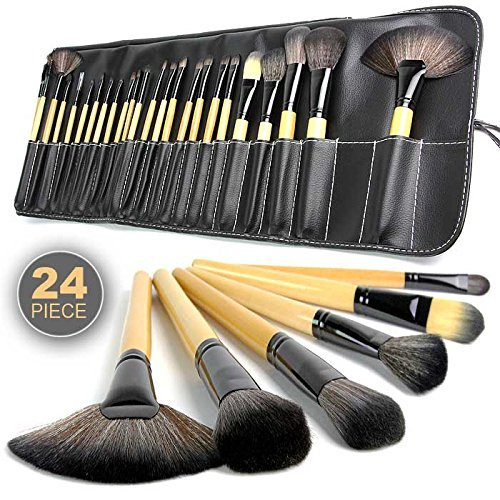 Allin Exporters Makeup Brushes Cosmetic Brush Set With Black Leather Pouch For Eye Shadow Blush Concealer(Cream-Coloured) (Pack Of 24 Pcs)