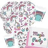 36-teiliges Party-Set Einhorn Magic Party - Unicorn - Teller Becher Servietten für 8 Kinder