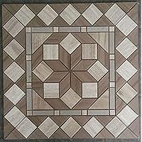 Naturstein Marmor Rosone 60x60 cm Windrose Mosaik Einleger Creme Grau 90115