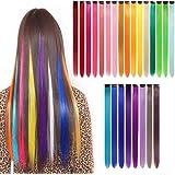 gotyou 24 Piezas Clip de Extensiones de Cabello liso Colorido,Pelucas de Clip Multicolor del arco Iris Extensiones de Cabello