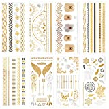 Queentas Temporary Flash Tattoos - 8 Pack - 65 Designs - Metallic Tattoos for Kids, Girls, Teens & Young Adults. Makes A Great Gift & Birthday Present Idea For All Ages