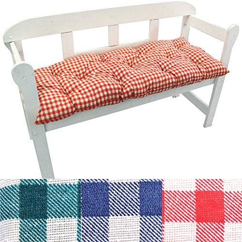 Gartenbank-Auflage Karo Auflage-kissen für Bänke und Gartenschaukel Sitzkissen für Bank Sitzpolster 8 cm dick, Farbe:Rot, Größe:120 x 50 x 8 cm