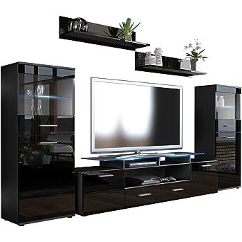 Wohnwand Anbauwand schwarz, Fronten hochglanz, optional LED ...