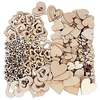 JNCH 400pcs 10-40mm Embellissement Coeur en Bois Naturel + Forme de Coeur Creux Vierge Taille Mixte pour Décoration de Mariage Fête Scrapbooking DIY Artisanat Bricolage