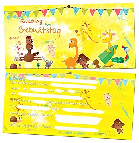 12 Einladungskarten zum Kindergeburtstag - Motiv Tiere - für Kinder, Jungen, Mädchen, Party Feier Geburtstagseinladungen im Set