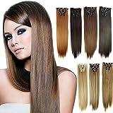 ??LILICAT 6 Pcs Pleine Tête Naturel Femmes 16 Clips Synthétique Extensions de Cheveux Droites Belle Perruques cospay Classics Vintage Lisseur