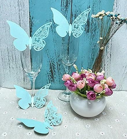 JZK® 50 x Pearly papillon bleu numéro de table d'espace réservé aux détenteurs de place tiffany faveurs pour les marques de graduation de Noël marques de communion de baptême de naissance d'anniversaire de mariage de fête espaces réservés lieux de la