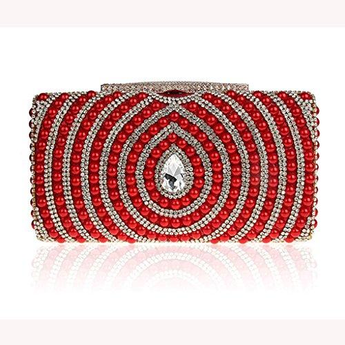 Le nuove borse di diamante della moda perline pochette sposa sacchetto di banchetto borsa da sera ( Colore : Silver ) Rosso