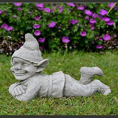 Happy Pixie gnomo–Dettagliate a mano in pietra decorazione da giardino statua
