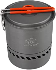 Segolike 1.5L Camping Heat Exchanger Pot Outdoor Portable Cookware Picnic Quick Heating Kettle Folding Handle Pot 1-2 Person