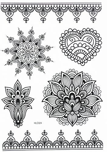 MANDALA HENNA NOIR tatouages temporaires au henné Henna pour le corps HC024