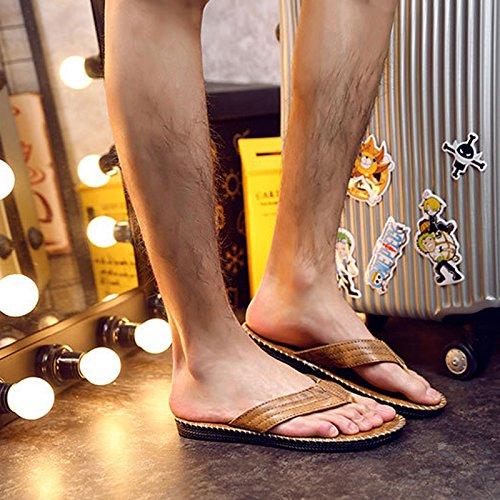 Vertvie Herren Sommer Schuhe Strand Sandalen Indoor Outdoor Slipper Zehentrenner Pantoletten Flip Flop Hellbraun