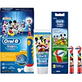 SPAR-SET: Oral-B Stages Power Kids Mickey Mouse Clubhouse elektrische Zahnbürste Kinder mit Music Timer + 2er Stages Power Bürstenköpfe +...