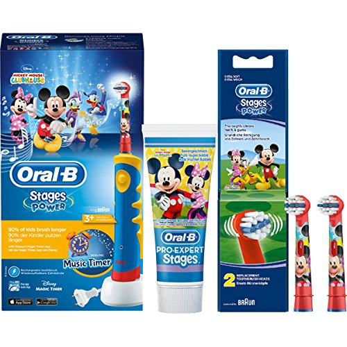 SPAR-SET: Oral-B Stages Power Kids Mickey Mouse Clubhouse elektrische Zahnbürste Kinder mit Music Timer + 2er Stages Power Bürstenköpfe + Kinderzahncreme Pro-Expert Stages Micky Minnie