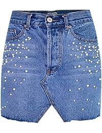 Bold Manner Damen Rock Unregelmäßiger Jeansrock mit Perlen Fashion Röcke  Bleistift Elegant Minirock Hohe Taille Slim c9dc69e94b