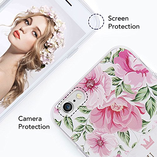 iPhone 6S / 6 Hülle (4,7 Zoll), Imikoko® Elegant 3D Blumenmuster TPU Weiche Retro Floral Series Silikon Schutzhülle Soft Case Back Cover Handyhülle für iPhone 6/6S(Rose) Pink Peonies