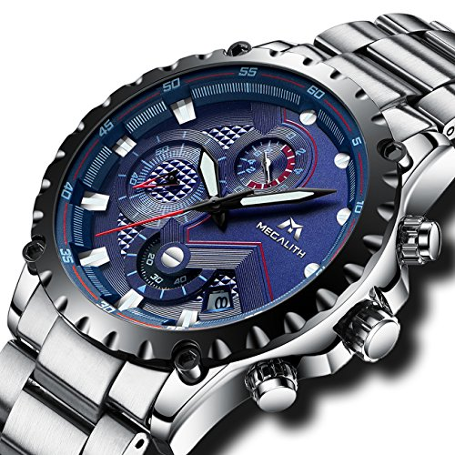 Herren Uhren Herren Militär Chronograph Luxus Wasserdicht Datum Kalender Armbanduhr Edelstahl Männer Sport Multifunktions Stopuhr Mode Designer Modisch Analoge Blau Zifferblatt Uhr