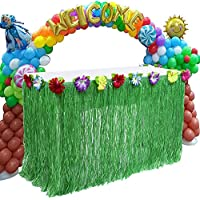 """Marry Acting Hawaiian Tropical Table Skirt, 28"""" x 108"""" Tiki Table Topper Grass Skirt With Multi-colored Floral Trim Garden Beach Picnic Summer Party Decoration"""