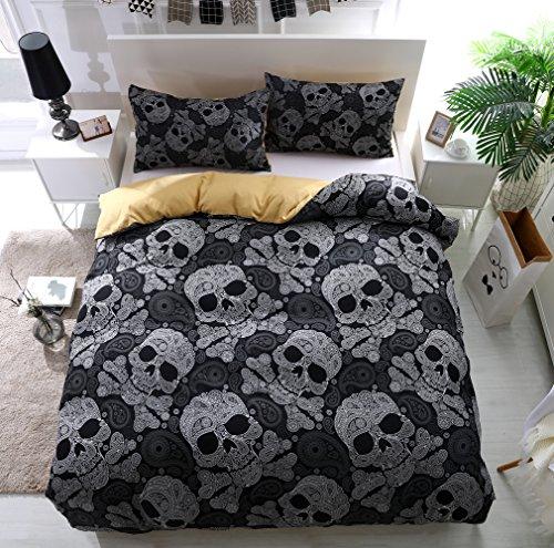 Bettbezug Set, Morbuy 3 Teilig Bettwäsche 200 x 230cm 100% Polyester Mikrofaser Persönlichkeit Skelett Stil Gemütlich Printing Bettbezug Set (Muster Skelett) (Set Tröster London)