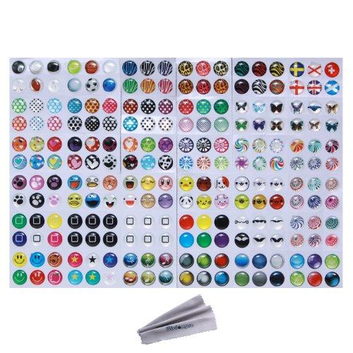 Wisdompro Home-Button-Aufkleber- 216coole Optionen- Pünktchen, bunte Blasen, Emojis (4 Home Sticker Ipod Für)