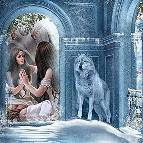 Dtdsht 5d DIY Diamant malerei mädchen 3D Diamant Stickerei Wolf kreuzstich mosaik Hand wohnkultur runde Bohrer (19.7x27.6inch) (Mädchen Diamond Supply Co)
