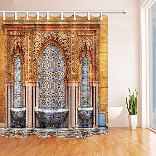 EdCott Brunnen am Mausoleum von Mohammed V in Rabat Marokko Duschvorhang Schimmelresistenter wasserdichter Polyester-Stoff Badezimmerdekorationen Badvorhänge Haken enthalten 71X71 Zoll -