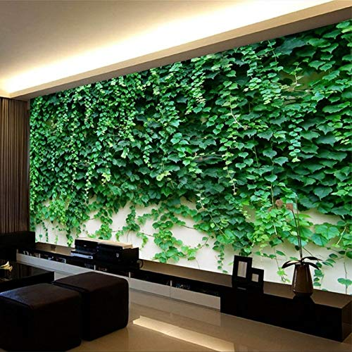 Fototapete 3d effekt Fototapete 3D Boston Ivy Green Pflanze Wandbild Hotel Wohnzimmer TV Sofa Hintergrund Wand Wohnkultur Tapete Tapete 3D-450X300CM Ivy Vintage Tapete