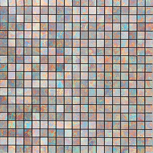 Royllent, una pellicola adesiva effetto mosaico in plastica ed alluminio, leggera e di facile installazione, rinnova le vecchie pareti, 1 metro quadrato, metallo, blue peafowl, 305*305mm