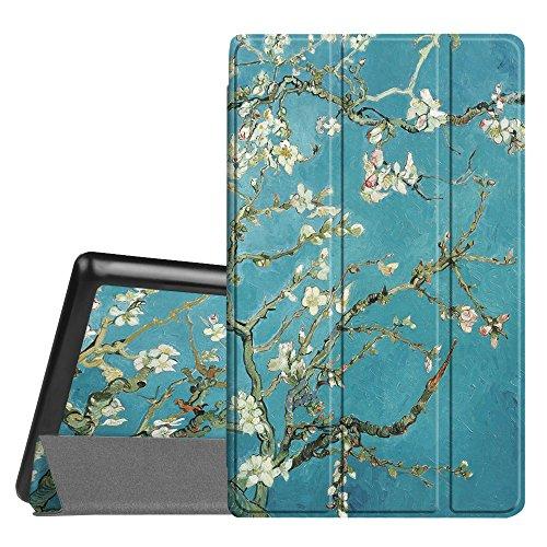 Fintie Hülle für Amazon Fire HD 8 Tablet (7. und 8. Generation - 2017 und 2018) - Ultradünne Lightweight Schutzhülle Tasche mit Standfunktion und Auto Schlaf/Wach Funktion, Mandelblüten