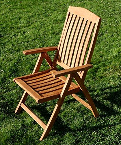AS-S TEAK Design Hochlehner Gartensessel Gartenstuhl Sessel Holzsessel Klappsessel Gartenmöbel Holz sehr robust Modell: JAV-TOBAGO von AS-S