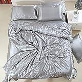 Vierteilige Set Seide,Volltonfarbe Atmungsaktive Bettdecke Luxus Weichen Deckblätter 1.8m Beding-S 180x200cm(71x79inch)