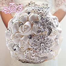 Bouquet di nozze in cristallo, con diamante artificiale, perle, fermaglio e fiori tipo rose di seta fatte a mano 1