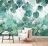 Yosot Gewohnheitstapete Moderne Art Und Weise Hand Gezeichnetes Monstera Grün Verlässt Gartenfresko Sofa Fernsehhintergrundwandgemälde 3D Tapete-140Cmx100Cm