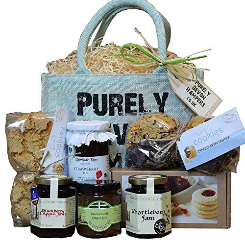 PURELY DEVON HAMPERS - Devon cookies and preserves hamper (aqua jute bag) thank you teacher gift