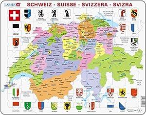Larsen K43Marco Puzzle Suiza-Político Tarjeta 70Piezas