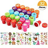Tacobear 26 Piezas Sellos para Niños Sellos Infantiles Sellos Animales con 6 Piezas Tatuajes Temporales Niños