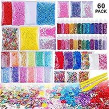Outtybrave 60 Pcs Slime Kit,Slime Herramientas para artesanía de Bricolaje Incluyen Fishbowl Beads,
