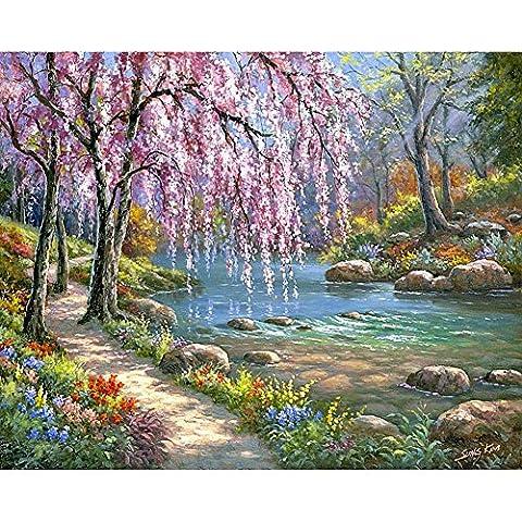 Peinture au Numéro Kits Peinture à l'huile Par Nombres Fleurs de cerisier romantique Numérique Peinture à l'huile Toile Mur Art Bricolage DIY Loisir Créatif