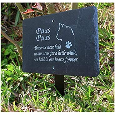 1st 4 Signs Beautiful Natural Slate Pet Cat Memorial 25cm x 18cm Traditional Rustic Finish (Stake not included) – To Purchase Click Customize Now Button