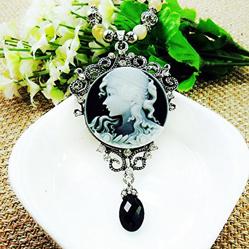 Beautiful Bead Vintage Style Antique Silver Beauty Head Pendent Necklace Black Pearl Sweater Chain for Women(1Pcs)
