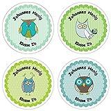 Papierdrachen 24 individuelle Aufkleber für Kinder - Motiv Eulen - personalisierte Sticker - Schule Einschulung