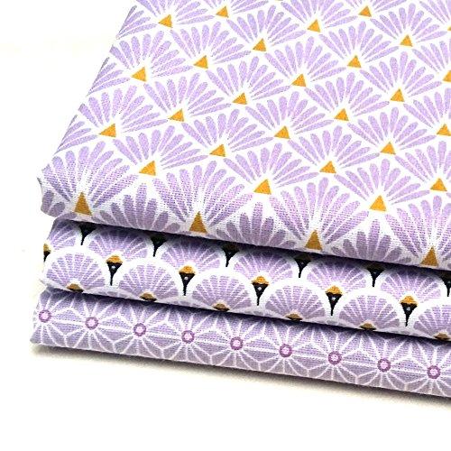 Lot 3 coupons de tissus éventails et écailles parme , saki asanoha lavande - 50 cm x 50 cm